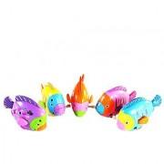 Magideal Mini Rainbow Coloured Swing Fish Wind Up Toy For Kids Play Plastic