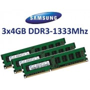 12 GB kit Samsung Triple Channel 3 x 4 GB 240 pin DDR3 - 1333 (1333 MHz, PC3 - 10600, CL9) non originale, senza buffer (3 x m378b5273bh1 - CH9) per schede madri DDR3 + i3 + i5 + i7