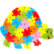 Magideal Set of Wooden Turtle Alphabet Puzzle Brain Teaser Toy Kids Alphabets Color Educational Gift Multicolor
