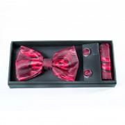 Accesorii masculine de gala, print rosu intens cu negru