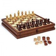 WE Games French Staunton Chess & Checkers Set - Weighted Pieces Brown & Natural Wooden Board with Storage Drawers - 15