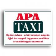 Apa taxi - Tréfás rendszámtábla