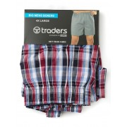Traders Red Check Boxers - Red 4XL