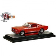 1966 Ford Mustang 2+2 GT Fastback Emberglo Metallic with White 1/24 by M2 Machines 40300-49C