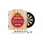 Beer Brand Wood Dart Cabinet Set with Darts and Board Corona - Vintage