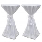 vidaXL Покривки за маса с панделка, 70 см, бели – 2 броя