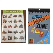 Just4fun 328 CONSTRUCTION Zone Stickers - Book of 208 plus 6 Sheets of 20 Photo Stickers - Backhoe BULLDOZER Dump Truck LOADER - Cement Mixer - Teacher Motivational Rewards EDUCATION Classroom Party Favors