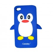 Casotec Penguin Silicone Jelly Back Case Cover for Apple iPhone 4G / 4S - Blue / White