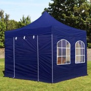 tendapro.it 3x3 m Gazebo Pieghevole blu scuro con 4 laterali, ALU PROFESSIONAL