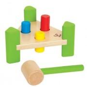 Hape Preschool - 3602482 - Jeu Educatif - Banc À Cogner Triangulaire Avec 3 Chevilles Et 1 Marteau En Boîte - 20 X 18 X 9 Cm