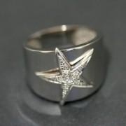 Anel de Ouro Branco com 6 Diamante de 1 Ponto