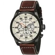 Citizen Brown Leather Round Dial Quartz Watch For Men (CA4215-04W)