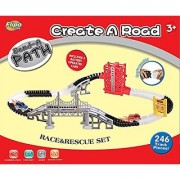 Bend A Path Race And Rescue Set (267 Pieces)- 12 Feet Of Track With Exclusive Elevator Swinging Doors And Bridge