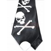 Krawat czarno biały - KOŚCI I CZASZKI (K-7)
