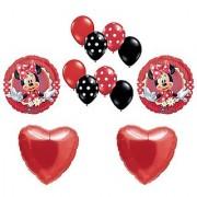 Mad About Minnie Mouse Polka Dot Heart Mylar Latex Birthday Balloon Set