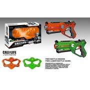 Llamada de la Vida W7001D Lasertag Set - 2 máscaras de batalla y las armas láser de combate 2 - Armas de juguete lasertag - 2 pistolas láser y 2 máscaras