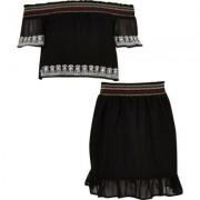 River Island Girls Black chiffon lace bardot top outfit