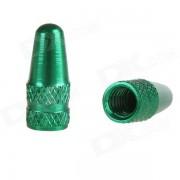 Casquillo de la valvula de Presta del neumatico de la bicicleta de la aleacion de aluminio - verde (2PCS)