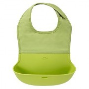 OXO Tot Silicone Roll Up Bib with Comfort-Fit Fabric Neck Green