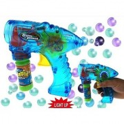 Friction Powered Bubble Gun with Bright LED Lights - No Batteries needed!