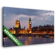 A londoni Parlament és a Big Ben esti diszkivilágításban (40x25 cm, Vászonkép )