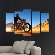 Декоративeн панел за стена с мотоциклетист в пустиня Vivid Home