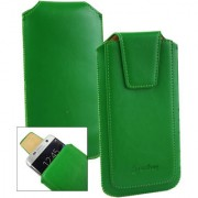 Emartbuy Sleek Range Green Luxury PU Leather Slide in Pouch Case Cover Sleeve Holder ( Size LM2 ) With Luxury PUll Tab Mechanism Suitable For Lava A82