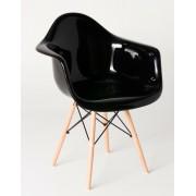 Replica Eames DAW Eiffel Armchair - fibreglass, black steel, natural wood legs - various colours
