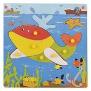 Skillofun Wooden Theme Puzzle Standard Whale Knobs, Multi Color