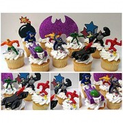 DC COMICS 12 Piece Birthday CUPCAKE Topper Set Featuring 7 RANDOM DC COMICS Superhero Characters Includes Themed Decorative Accessories Figures Average 1 to 2.5 Inches Tall