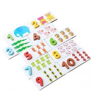 Sealive Funny Baby Educational Wooden Toys Number Counting Animals Card Game Set Matching Puzzle Jigsaw Toy Learning Toy Kids Birthday Gift Xmas Gift
