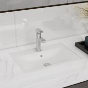 vidaXL Biele obdĺžnikové keramické umývadlo do kúpeľne s otvorom na batériu