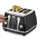 DeLonghi CTOM4003 BK Icona Vintage Toster 1800 W, 4 sloty, funkcja ECO