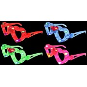 Set Of 4 Vt Flashing Led Multi Color Love Heart Light Up Show Party Favor Toy Glasses (Colors May Vary)
