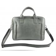 Skórzana torba na ramię A4, na laptopa, jasno szara
