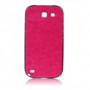 Силиконов калъф с кожен гръб Fashion Style за Samsung Galaxy Note 2 тъмно розов