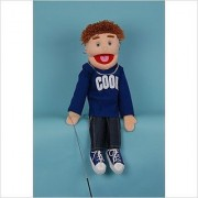 Sunny Toys 28 Brunette Yarn-Haired Boy In Blue Hand Slit Puppet