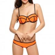 Beugel bikini Neopreen Black Lined Oranje