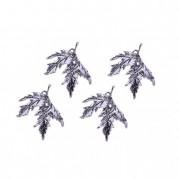 Dekoráció levél fém ezüst I (4 db/szett)