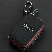 Amooca Black Audi Premium Leather Car Key Chain Coin Holder Zipper Case Remote Wallet Bag