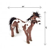 """19"""" Super Soft Standing Horse Plush Toy Assorted Colors 1 PC - By Hands On Learning - Adorable Stuffed Horse - Stuffed Farm Animals - Animal Themed Party Accessory - Carnival Prize - Educational Toy"""
