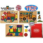 """Small World Toys Ryan's Room Classic Wooden Vehicle Peg Puzzles Fire Truck, School Bus & Loco (Train) Shapes Gift Set Bundle with Exclusive """"Matty's Toy Stop"""" Storage Bag - 3 Pack"""