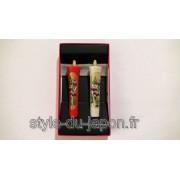 Paire de bougies japonaises peintes à la main (iris)