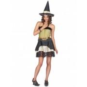 Disfarce bruxa mulher Halloween dourado Tamanho único