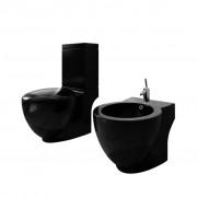 vidaXL Комплект керамични тоалетна чиния и биде, черни
