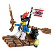 Pirates Raid Sea Predatory 41 Pcs Pirate Adventure Raft Pack Armed With Gun, Flag And Movable Row Paddle For A Blast Cruise With Black Hat Pirate A Must For Children 6+ In Lego Compatible Parts