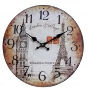 Relógio de Parede Retro Rústico Vintage Retro BIG BEN TORRE EIFEL CBRN01927