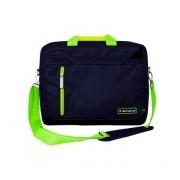 TechZone Maletin de Nílon TZ16LMS21 para Laptop 15.6'', Negro/Verde - Resistente al Agua