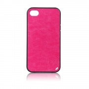 Силиконов калъф Fashion Style с кожен гръб за IPhone 4s тъмно розов