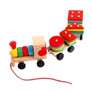 Eyotool Drag Three Digital Small Wooden Train Best Educational Set of Trains with Fun and Colorful and Geometric Figures Stacking Train Pairing Disassembly for Combination Shape
